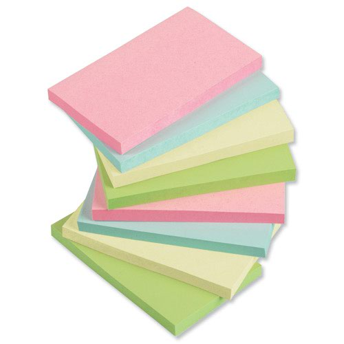 Value Repositionable Notes 76x127mm Assorted Pastel (12)