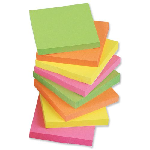 Value Repositionable Notes 76x76mm Assorted Neon (12)