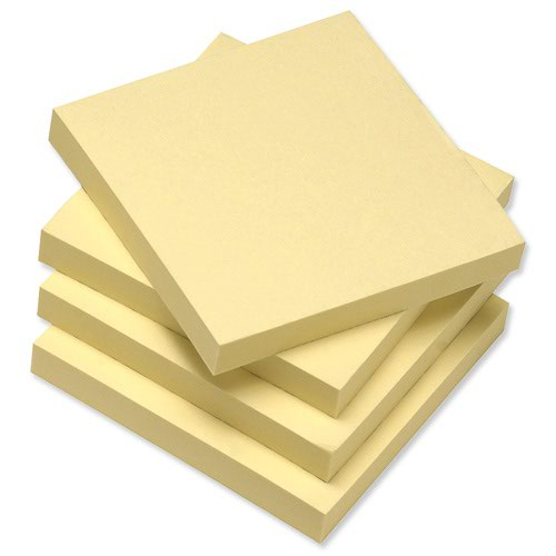 Value Recycled Repositionable Notes 76x76mm Yellow (12)