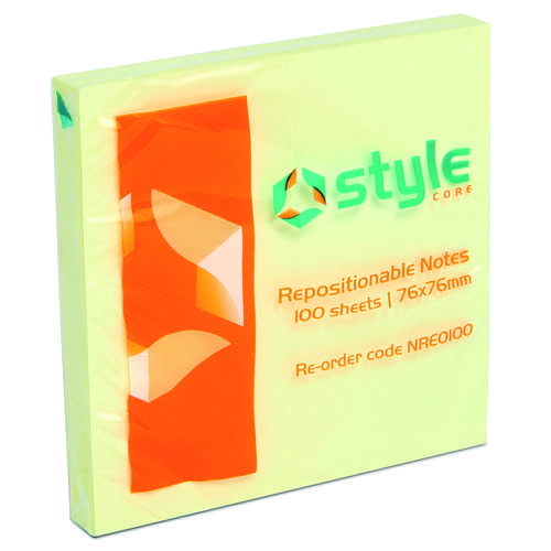 Style CORE Repositionable Notes 76x76mm Yellow