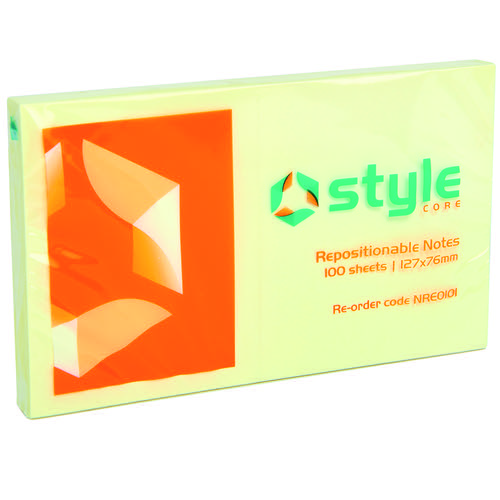 Style CORE Repositionable Notes 76x127mm Yellow