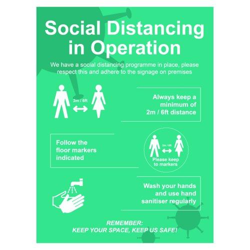 Spectrum Social Distancing In Operation Sign Rigid PVC 600x800mm STP130