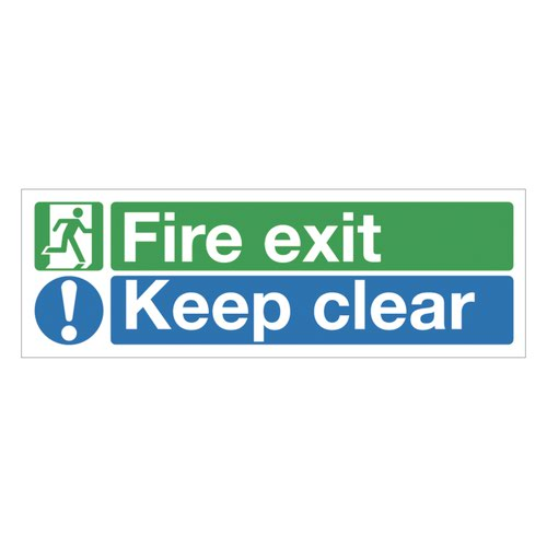 Fire Exit Keep Clear Sign 600x200mm Self Adhesive Vinyl