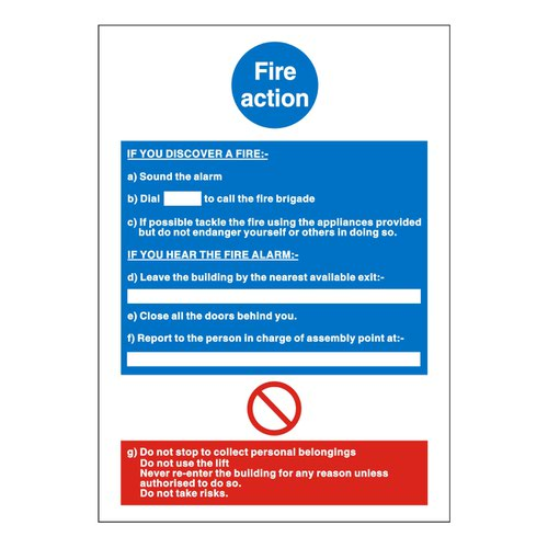 Fire Action Notice 150x200mm Self Adhesive Vinyl