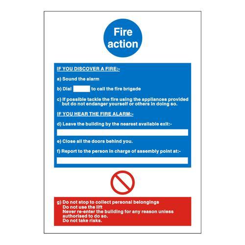 Fire Action Notice 150x200mm Semi-Rigid PVC