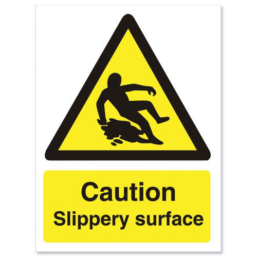 Slippery Surface Sign 200x150mm Self Adhesive Vinyl