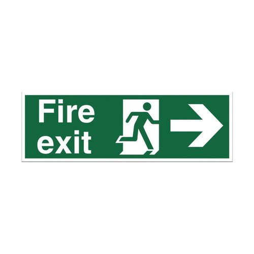 Fire Exit Arrow Right Sign 450x150mm Self Adhesive Vinyl