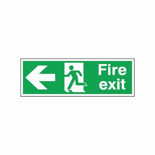 Fire Exit Arrow Left Sign 450x150mm Self Adhesive Vinyl
