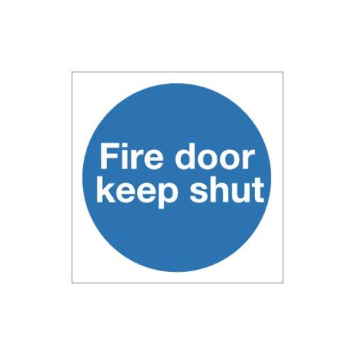 Fire Door Keep Shut Sign 100x100mm Self Adhesive Vinyl