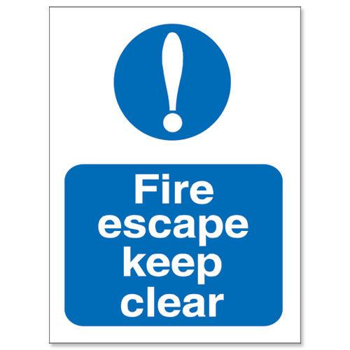 Fire Escape Keep Clear Sign 150x200mm Self Adhesive Vinyl