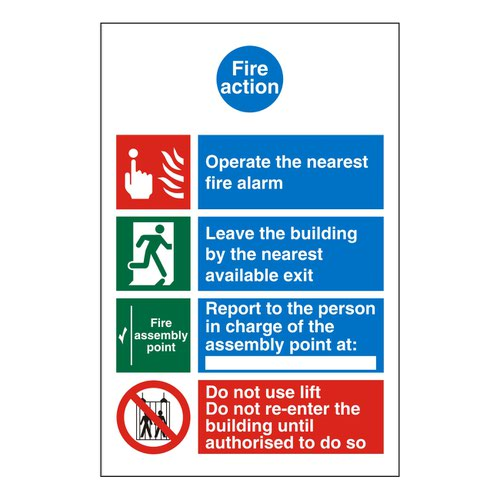 Symbolised Fire Action Sign 150x200mm Self Adhesive Vinyl