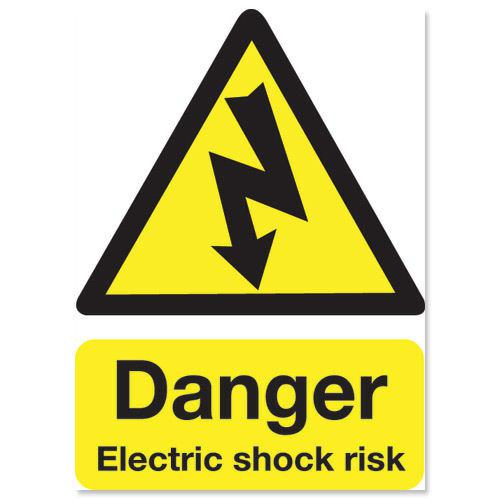 Electric Shock Risk Sign 200x150mm Self Adhesive Vinyl