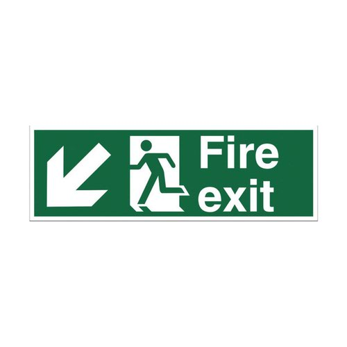 Fire Exit Arrow Down Left Sign 450x150mm Self Adhesive Vinyl