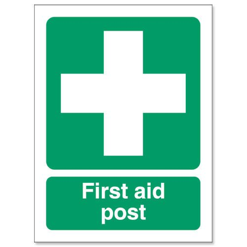 First Aid Post Sign 150x110mm Self Adhesive Vinyl