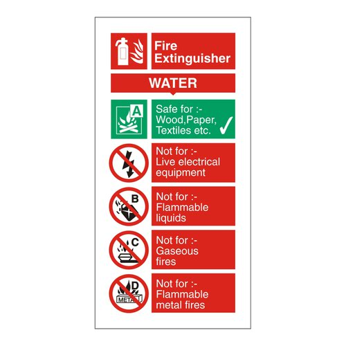 Fire Extinguisher Sign Water 280x90mm Self Adhesive Vinyl