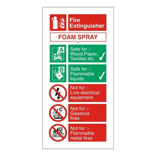 Fire Extinguisher Sign Foam 280x90mm Self Adhesive Vinyl