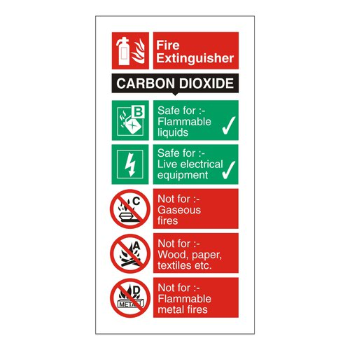 Fire Extinguisher Sign Carbon Dioxide 280x90mm Self Adhesive Vinyl