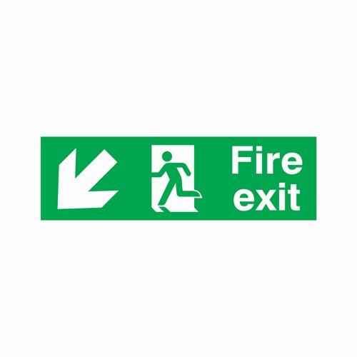Fire Exit Arrow Down Left Sign 450x150mm Semi-Rigid PVC