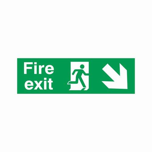 Fire Exit Arrow Down Right Sign 450x150mm Semi-Rigid PVC