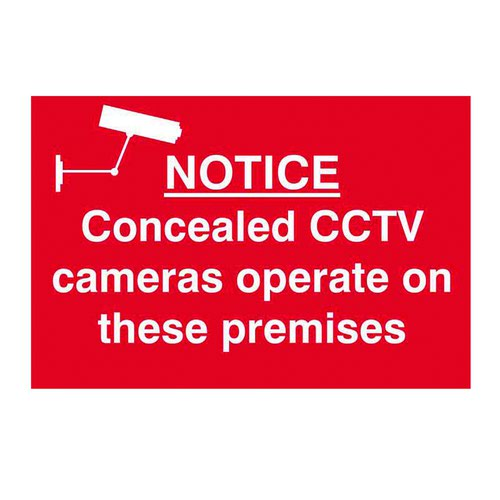 Concealed CCTV Cameras Operate Sign 300x200mm Self Adhesive PVC 1607