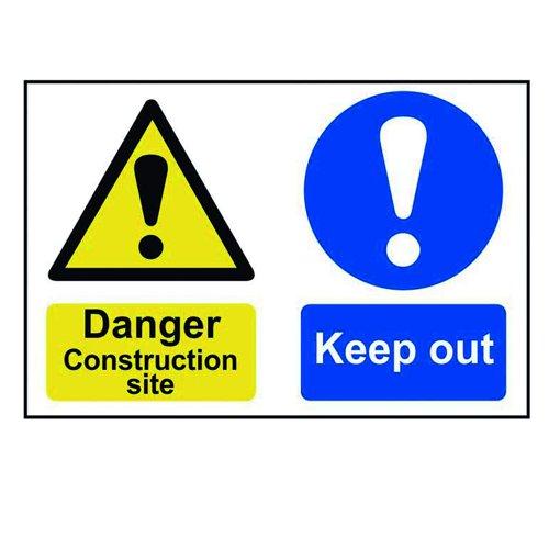 Danger Construction Site Sign 600x400mm Self Adhesive PVC 4005