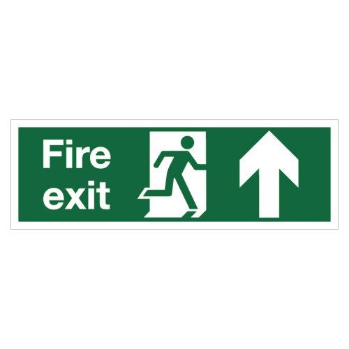 Fire Exit Arrow Up Sign 450x150mm Semi-Rigid PVC