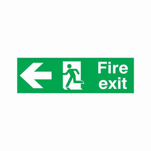 Fire Exit Arrow Left Sign 450x150mm Semi-Rigid PVC