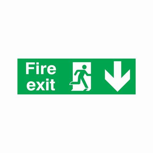 Fire Exit Arrow Down Sign 450x150mm Semi-Rigid PVC