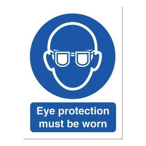 Eye Protection Sign 150x200mm Self Adhesive Vinyl
