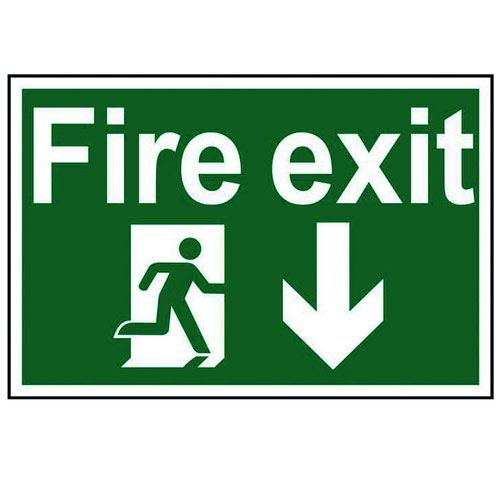Fire Exit Arrow Down Sign 300x200mm Self Adhesive PVC 1503
