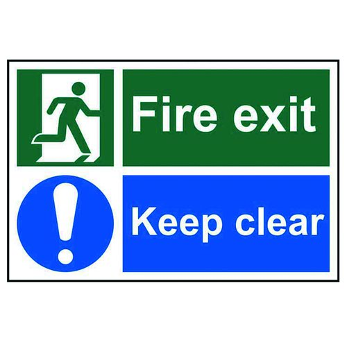 Fire Exit Keep Clear 300x200mm Self Adhesive PVC 1540