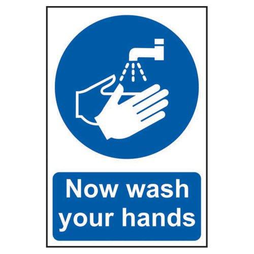 Now Wash Your Hands Sign 200x300mm Rigid PVC 11483