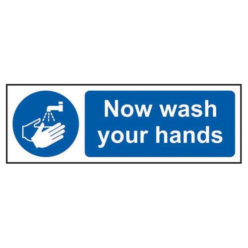 Now Wash Your Hands Sign 300x100mm Rigid PVC 11481