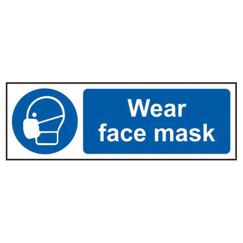 Wear Face Mask Sign 300x100mm Self Adhesive Vinyl 11388