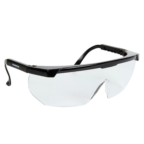 Warrior Wraparound Clear Lens Safety Spectacles Black 0115APS