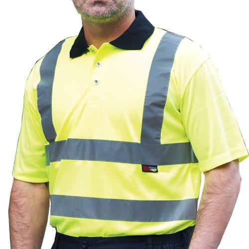 Warrior Daytona High Visibility Class 2 Short Sleeve Polo Shirt Yellow 0118DAY