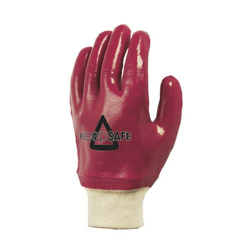 Keep Safe Fully Coated PVC Knitted Wrist Gloves Red Size 10 RPKW