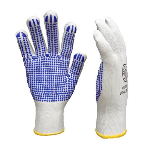 Keep Safe Latex Polka Dot Grip Gloves Blue/White WNBD