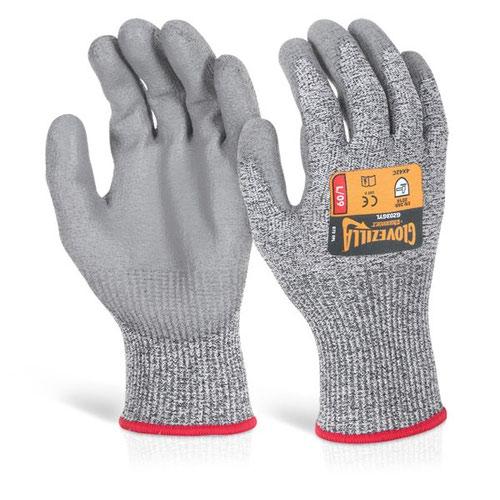 Glovezilla PU Palm Coated Glove Large Grey GZ03GYL