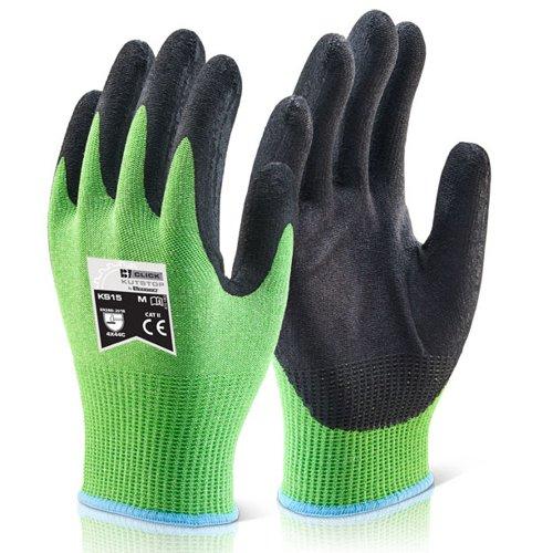 Beeswift Kutstop Micro Foam Nitrile Cut Level 5 Gloves Sz8 Green KS15M