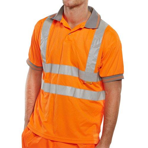 Beeswift Short Sleeve High-Visibility Polo Shirt Orange Medium BPKSENORM