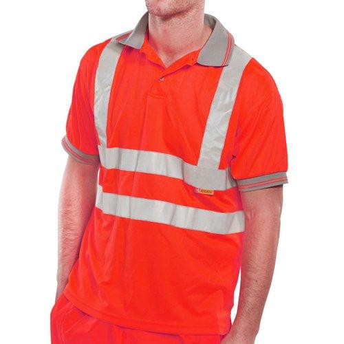 Beeswift Short Sleeve High-Visibility Polo Shirt Red XL BPKSENREXL