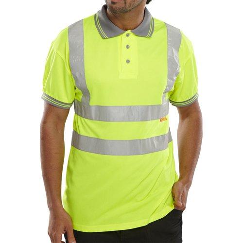 Beeswift Short Sleeve High-Visibility Polo Shirt Saturn Yellow Medium BPKSENSYM