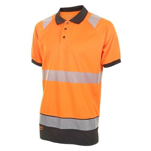 Beeswift Two Tone Short Sleeve Polo Shirt Orange/Black XL HVTT010ORBLXL
