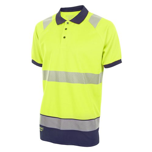 Beeswift Two Tone Short Sleeve Polo Shirt Saturn Yellow/Navy Blue Medium HVTT010SYNM