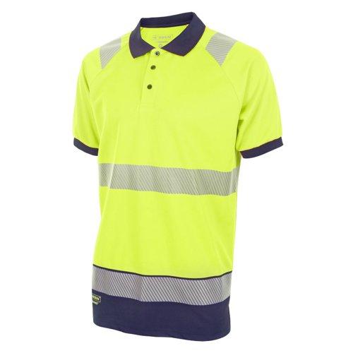 Beeswift Two Tone Short Sleeve Polo Shirt Saturn Yellow/Navy Blue 4XL HVTT010SYN4XL