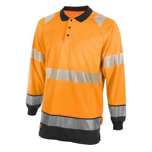 Beeswift Two Tone Long Sleeve Polo Shirt Orange/Black HVTT015ORBL