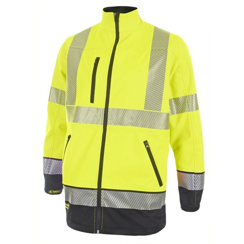 Beeswift Two Tone High-Visibility Soft Shell Jacket Saturn Yellow/Navy Blue Medium HVTT040SYNM