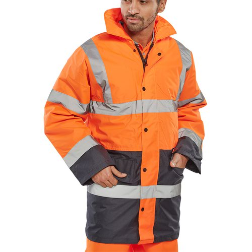 Beeswift Two Tone High-Visibility Traffic Jacket Orange/Black 3XL TJSTTENGORNXXXL
