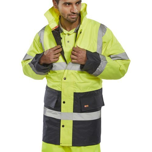 Beeswift Two Tone High-Visibility Traffic Jacket Saturn Yellow/Navy Blue 4XL TJSTTENGSYN4XL
